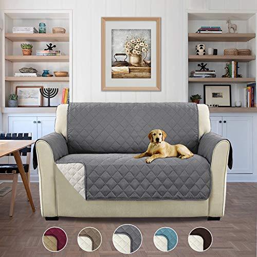 H.versailtex copridivano 2 posti impermeabile divano protector mobili coperture su due lati per cani/gatti letto con divano slipcovers - 2 posti, grigio