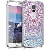 kwmobile Funda TPU silicona transparente para Samsung Galaxy S5 / S5 Neo / S5 LTE+ / S5 Duos en azul rosa fucsia transparente Diseño sol indio