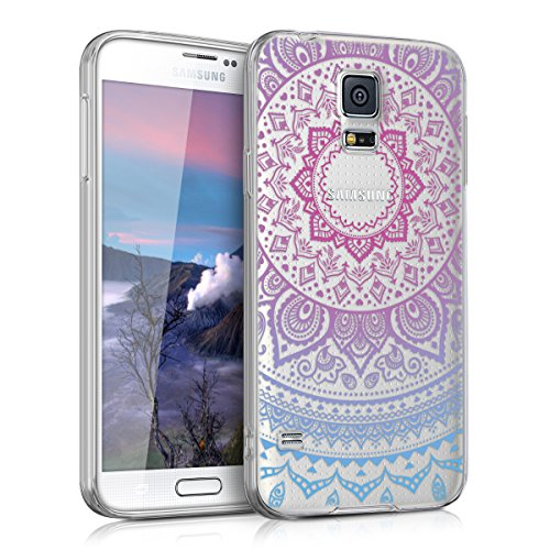 kwmobile Samsung Galaxy S5 / S5 Neo Hülle - Handyhülle für Samsung Galaxy S5 / S5 Neo - Handy Case in Indische Sonne Design Blau Pink Transparent