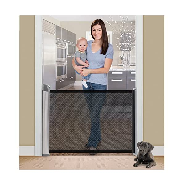 Summer Infant Retractable Gate  Hardware mounted for added security and use at top of stairs or between rooms (hardware included) 76 cm tall and fits openings up to 127 cm Simple locking mechanism, push down to lock and pull up to unlock 3