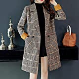 HJHKJHIU Double Row Hair Coat Long and Warm Straight Jacket in Autumn and Wintershallow Cafem