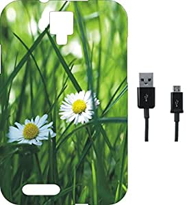 BKDT Marketing Printed Soft Back Cover Combo for Micromax Canvas Xpress A99 With Charging Cable