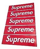 5 Stück Große Supreme Sticker Aufkleber (5,5cmx20cm)Box Logo Aufkleber für Skateboards, Laptops, Gepäck, etc.