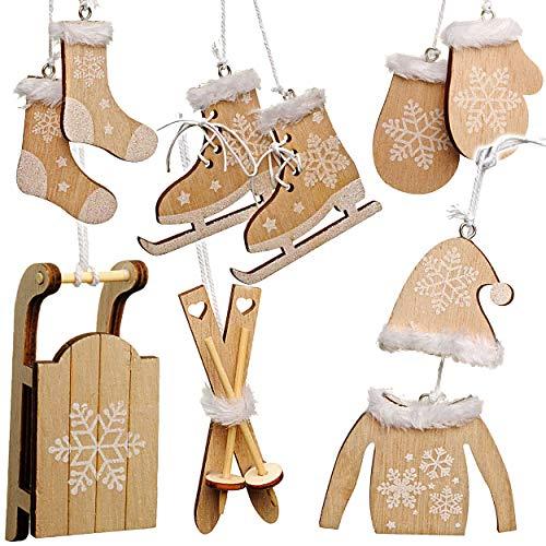 alles-meine.de GmbH 10 TLG. Deko Set - Streumotive -  Winter & Weihnachten - Ski / Schlittschuhe / Schlitten - aus Holz - Miniatur / Diorama - Anhänger - Weihnachtsdeko / Winte..
