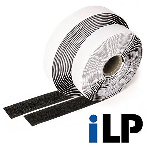 iLP Cinta de vector negra autoadhesiva - 10 metros de largo aproximadamente, 20 mm de ancho - Fijación segura extra fuerte para el trabajo de bricolaje - 1 rollo de cinta de velcro y gancho