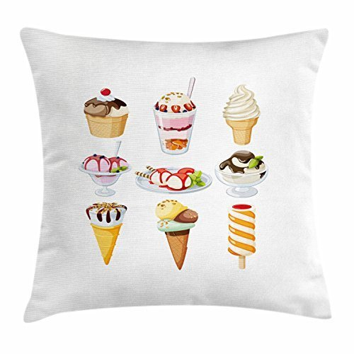 But why miss Ice Cream Throw Pillow Cushion Cover, Tasty Desserts Drizzled with Syrup in Waffle Cups and Plates Ice Lolly Nuts Mint, Decorative Square Accent Pillow Case, 18 X 18 Inches, Multicolor Dessert Plate Coral