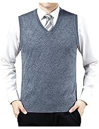 Hombre Chaleco Caballero de Punto Sin Mangas Patrón de Rombo Cuello en V Chalecos de Suéter