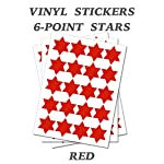 Set of 500 - Red Six Point Star Merit Reward Stickers - Removable Self Adhesive Waterproof Durable Vinyl Label Sticker 9mm Each for School, Preschool, Nursery & Home Activity by PARTY DECOR