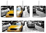 Gelbes Taxi in New York schwarz/weiß inkl. Lampenfassung E27, Lampe mit Motivdruck, tolle Deckenlampe, Hängelampe, Pendelleuchte - Durchmesser 30cm - Dekoration mit Licht ideal für Wohnzimmer, Kinderzimmer, Schlafzimmer
