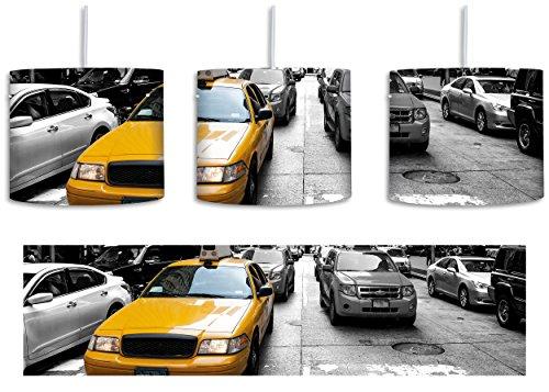 Metropole Ein Licht (Gelbes Taxi in New York schwarz/weiß inkl. Lampenfassung E27, Lampe mit Motivdruck, tolle Deckenlampe, Hängelampe, Pendelleuchte - Durchmesser 30cm - Dekoration mit Licht ideal für Wohnzimmer, Kinderzimmer, Schlafzimmer)