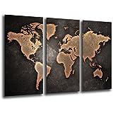Cuadro Moderno fotografico base madera, 97 x 62 cm, Mapa Mundial, Mapa Mundi, Vintage ref. 26138