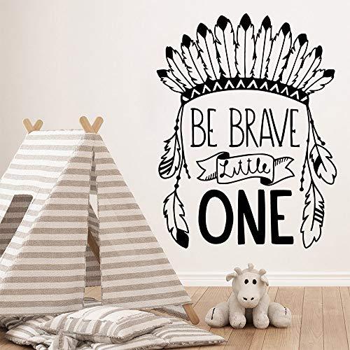 woyaofal Niedliche Stammes-Hut Zitat mutig Sein, kleine Vinyl Wand abnehmbare Dekor für Jungen Schlafzimmer Kinderzimmer Dekoration Aufkleber XL 57 x 74 cm