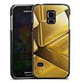 DeinDesign Samsung Galaxy S5 Mini Lederhülle schwarz Leder Case Leder Handyhülle Goldbarren Gold Barren