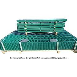 20 Meter Doppelstabmattenzaun Zaunanlage Gartenzaun / Komplettpaket in RAL 6005 Moosgrün Höhe 103cm/ Maschenweite: 50/200mm / Drahtstärke: 6/5/6 mm / Komplettpaket (Zaunfelder/Pfosten/Befestigungsmaterial)