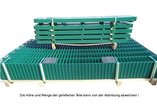15 Meter Doppelstabmattenzaun Zaunanlage Gartenzaun / Komplettpaket in RAL 6005 Moosgrün Höhe 123cm/ Maschenweite: 50/200mm / Drahtstärke: 6/5/6 mm / Komplettpaket