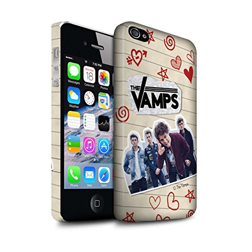 Offiziell The Vamps Hülle / Matte Snap-On Case für Apple iPhone 4/4S / Pack 5Pcs Muster / The Vamps Doodle Buch Kollektion Rot Stift