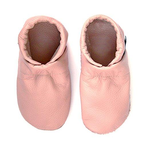 pantau.eu Kinder Lederpuschen Krabbelschuhe Babyschuhe Lauflernschuhe Unifarben Rosa