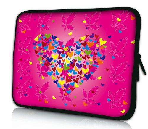 Luxburg® Design Tasche Hülle Sleeve Schutzhülle für Tablet PC 8 Zoll: Apple iPad mini (auch Retina) | Samsung Galaxy Tab 3 (8 Zoll) / Note 8.0 | Intenso TAB814 (8 Zoll) | Asus MeMO Pad 8 | Odys Titan (8 Zoll) | Lenovo IdeaPad Yoga (8 Zoll) | Acer Iconia W3 (8 Zoll) , Motiv: rosa Blumenherz