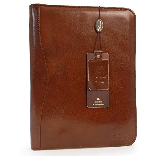 Ashwood Leather A4 Zip Folder - Chestnut