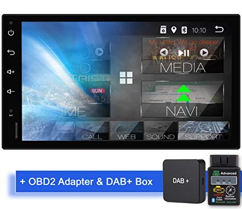 Tristan Auron BT2D7018A Android 9.0 Autoradio mit Navi + OBD 2 Adapter DAB+ Box I 7'' Touchscreen Bildschirm I Bluetooth Freisprecheinrichtung I Quad Core USB/SD - 2 DIN