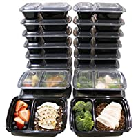 Misc Home [20 Pack] 32 Oz. 2 Compartment Meal Prep Containers Durable Plastic Reusable Food Storage Microwave & Dishwasher Safe Airtight Lid & Bento Box Lunch Box