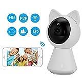 Hangang HD 1080 P WiFi IP Caméra WiFi Mignon Chat Smart WiFi Caméra Smart Camera soutien P2P Nuit vision Détection de Mouvement Bidirectionnel Audio Contrôle du Téléphone (white)
