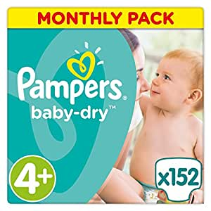 Pampers Baby-Dry 152 Nappies with 3 Absorbing Channels, 9 - 18 kg, Size 4+
