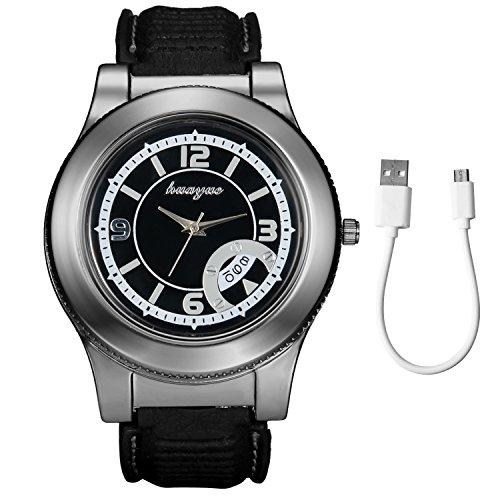 Lancardo Mode Simple Multifonction Montre-Bracelet à Quartz avec Briquet USB Electronique Rechargeable sans Flamme Coupe-vent et USB Câble Noir