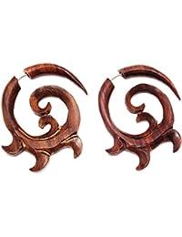 Falso dilatador de oreja de madera, diseño en espiral étnico, un par, color