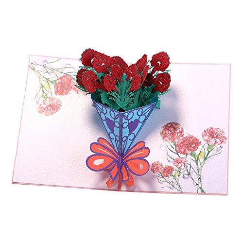Nelken Blumenstrauß Muttertag Geburtstag Karte Grußkarte für alle Anlässe Jahrestag Karte Laser geschnitten Thank You Karte ()