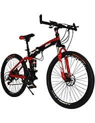 MASLEID 26 pulgadas bicicleta plegable, bicicleta de montaña, 27 velocidades, blanco, negro, azul, rojo , red