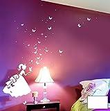 Wandtattoo Wandaufkleber Cinderella Prinzessin Schmetterlinge M1394 - ausgewählte Farbe: *Weiß* ausgewählte Größe:*XXL_67cmx76cm