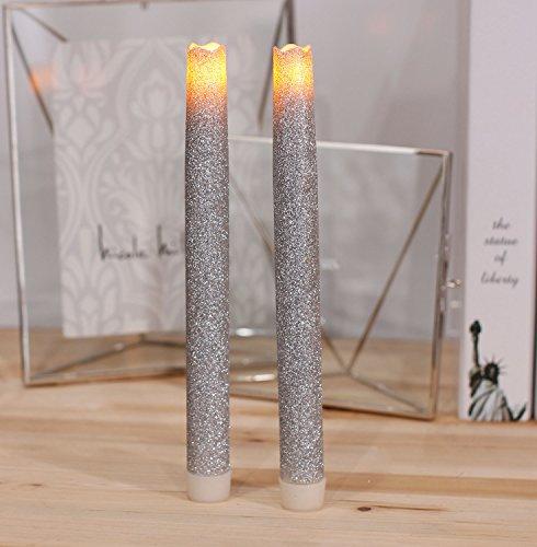 Led Stabkerzen Spitzkerzen Kerzen Flammenlose Kerzen Batterie Kerzen mit 6 Stunden Timer und batteriebetrieben, 9 Zoll (23cm), Splitter Glitzer Funken, Pack 2