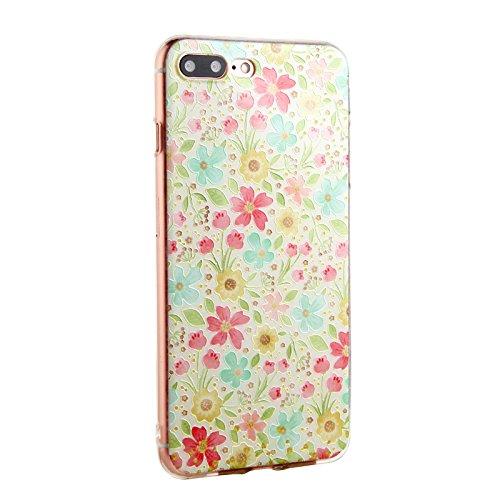 Voguecase® für Apple iPhone SE hülle, Schutzhülle / Case / Cover / Hülle / TPU Gel Skin (Aquarell Blätter) + Gratis Universal Eingabestift Bunt Blumen 14