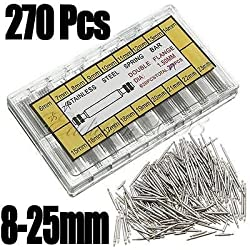 Generic 270pcs 8-25mm WATCH PIN SPRING BAR BAND STRAP LINKS PINS BOX SET Stainless Steel