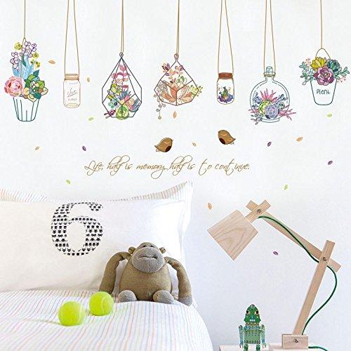 Hongrun Wall Mount Lüfter Aufkleber Art kreativ neue CD-Topfpflanzen Warenkorb Wohnzimmer Schlafzimmer dorm Dekor shop Fenster 80 * 132 cm (Wall Mount Lüfter)
