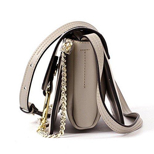 312a9012418fb ... Actlure Women Genuine Leather Crossbody Shoulder Purse Chain Link FY  Bag (Black-M) ...