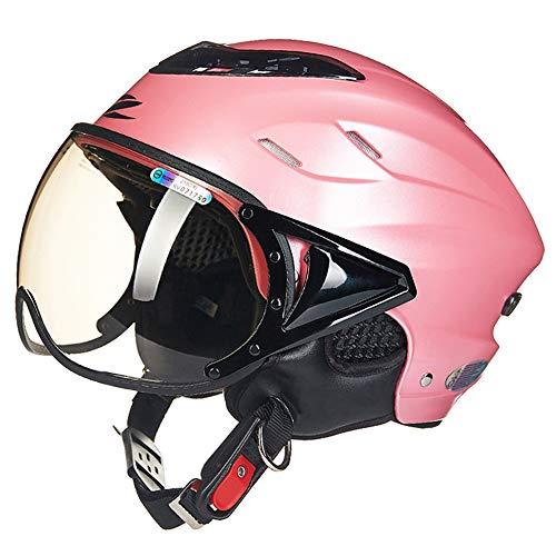 FLYFEI Mezzo Casco per MotoCasco da Bicicletta Motocross Racing HelmetCasco Open FaceSummer Jet Pilot Helmetper Skateboard Ciclomotore Kids Girl Uomo DonnaDimensioni Rosa: 55-60 Cm
