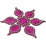 Handmade Elegantly Designed Pink Rangoli - With Star Shaped Base And Leaf Shape Design Decorated With Silver Coloured Stones - 7 Pieces Set