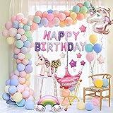 FUNCUBE Unicornio Decoraciones Cumpleaños de Fiesta para Niños, Enormes 3D Globos de Unicornio Cumpleaños Estandarte,Globos de Látex Macaron, Suministros de Cumpleaños Individuación para Niños Niñas