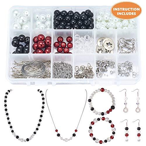 SUNNYCLUE 1 Scatola Fai da Te 2 Set di Gioielli Kit per la creazione di Perline – 8 mm/10 mm/12 mm Perline Kit & Attrezzi per la creazione di Gioielli Accessori per Adulti, Ragazze e Donne