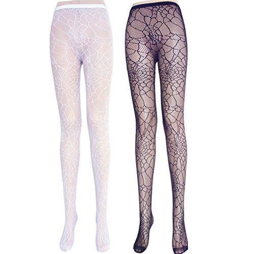 Damen Schwarz Weiß Netz Muster Strumpfhosen Frauen weiche Nylon gemusterte Strumpfhosen (2 Paare Spinnennetz / Weiß Schwarz)