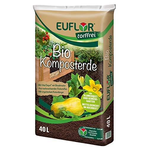 Euflor Bio Komposterde torffrei 40 L Sack, zur Aufbesserung und Anreicherung von Allen gärtnerischen Böden, aus 100{03dd75ca94a352ead02e21deaaeaae4b48a94bc2f4a447c4139bcb66db171777} nachwachsenden Rohstoffen