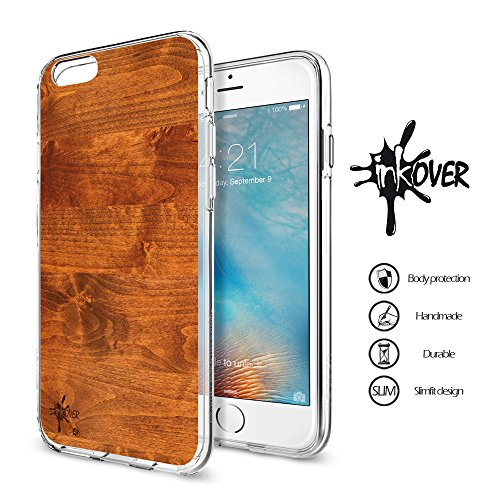 Cover iPhone 7 , Cover iPhone 8 - INKOVER - Custodia Cover Guscio Soft Case Bumper Trasparente Sottile Slim Fit Tpu Gel Morbida INKOVER DESIGN Bandiera Italia Vintage Wood Legno Style Nazionale Italia WOOD 3