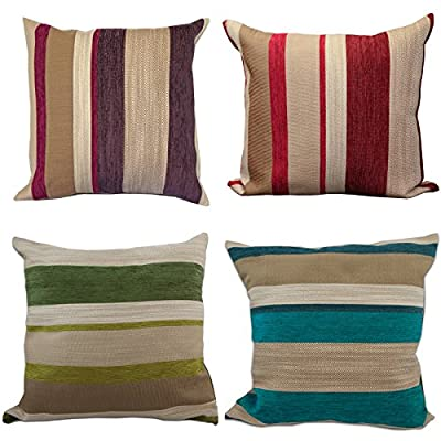 Just Contempo Chenille Striped Cushion Cover, Green, 17x17 inches - inexpensive UK rug store.