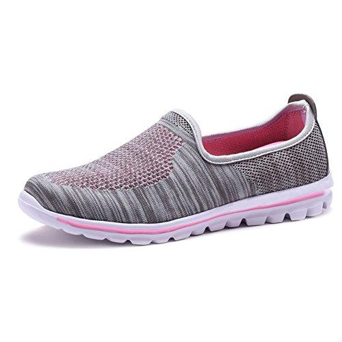 COODO Damen Mokassins Slip-On Moderne Loafers Modisch Bootsschuhe Bequem Freizeitschuhe Flache Fahren Halbschuhe Walkingschuhe CD8007 Grau/Pink-37 EU