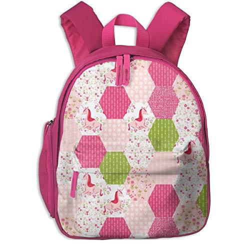 Zaino per bambini 2 anni,Unicorno Hexagon Quilt Carino Hexagon Pastel Spring Girly Fiore rosa e verde Floreali_2960 - andrea_lauren, Per scuole per bambini Oxford stoffa (rosa)