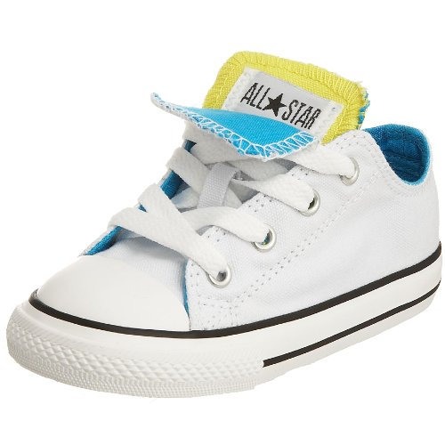Converse Chuck Taylor All Star Double Tongue Unisex - Kinder Sneaker, Weiß - White/Blazing Yellow/Vivid Blue - Größe: 3_Child_UK - Converse Chuck Taylor Double Tongue