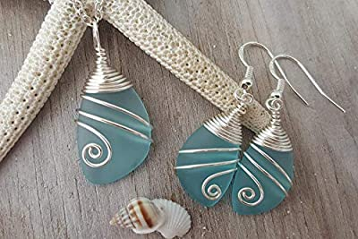 """Fait à la main à Hawaii, collier de perles de mer bleu turquoise enveloppé de fil de mer + ensemble de bijoux de boucles d'oreilles,""""pierre de naissance de décembre"""", chaîne en argent sterling"""