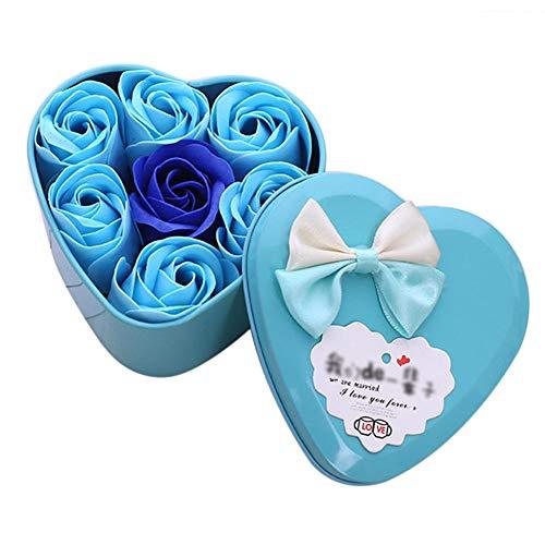 Wovemster 7 fiori di sapone di fiori fiori di latta a forma di cuore il regalo ideale per i partner per san valentino, anniversario o fidanzamento,blu